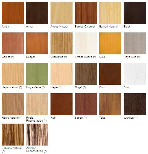 Tableros formados por chapas de madera juntada. En cada uno de ellos puede haber hasta 12 chapas (16 en el caso de acabados tintados)